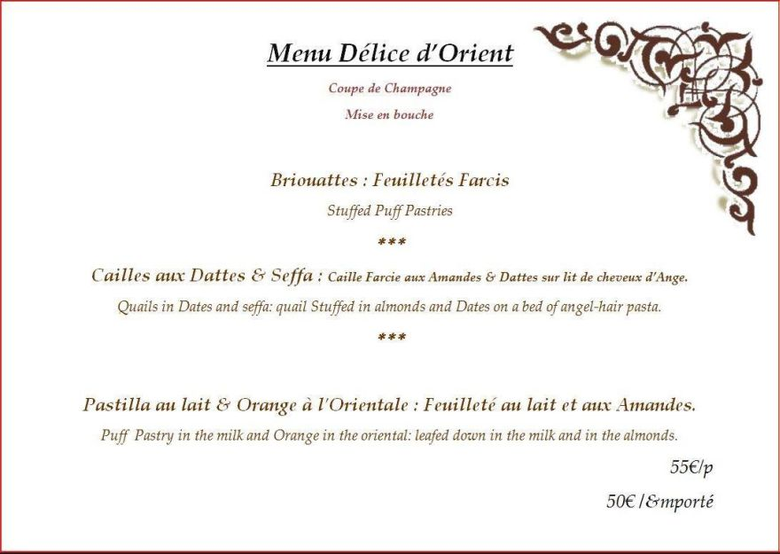 Menu Prestige et Tradition